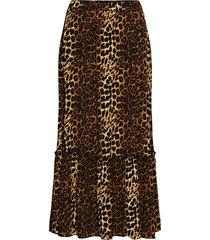 elinor maxi skirt knälång kjol brun just female