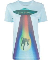 rainbow spaceship cat logo t-shirt