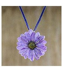 natural flower necklace, 'world of violet' (thailand)