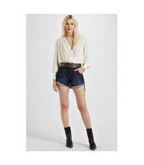 short jeans boy com ziper frontal puxador jeans - 34