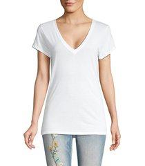 vince women's cotton-blend v-neck top - black - size xs