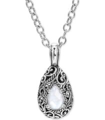 """carolyn pollack mother-of-pearl quartz doublet filigree 18"""" pendant necklace in sterling silver"""