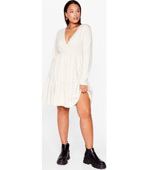 womens smock their socks off plus mini dress - stone