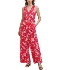calvin klein floral-print chiffon jumpsuit