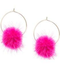 """zenzii large gold-tone faux-fur pom-pom hoop earrings, 2.5"""""""