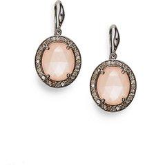 diamond, peach moonstone & sterling silver earrings