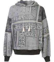 amiri patchwork paisley print hoodie - grey