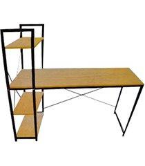 mesa para computador em aço com prateleiras 60x120cm preta