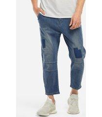 royal blue hiphop harem tether costura bolsillo diseño tapered loose fit hombre jeans