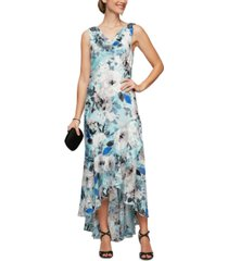 alex evenings cowlneck high-low gown