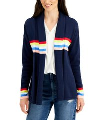style & co petite cotton striped-detail open-front cardigan, created for macy's