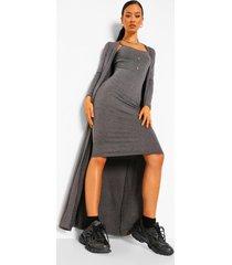 midi jurk met knoop detail en duster jas set, charcoal