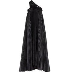 adidas x hyke one shoulder pleated dress - black