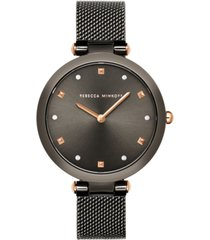 rebecca minkoff women's nina gray stainless steel mesh bracelet watch 33mm