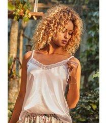 chamela 27473 - blusa de dormir para mujer en satín con encaje