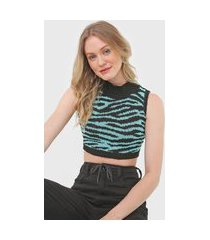 top cropped tricot oh, boy! will zebra azul/preto