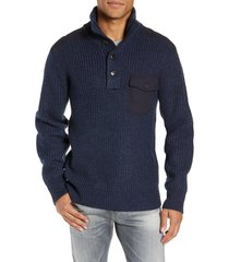 men's schott nyc wool blend military sweater, size medium - blue