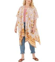 band of gypsies trendy plus size printed kimono jacket