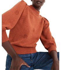 women's madewell eaton dotted puff sleeve cotton & merino yarn pullover sweater, size large - orange