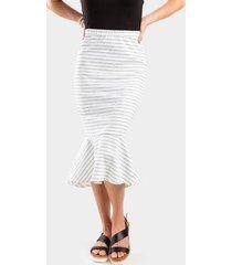 debra ruffled bottom midi skirt - white