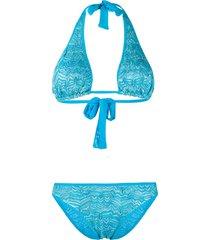 missoni mare embroidered bikini set - blue