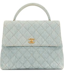 chanel pre-owned 1997 diamond quilted cc tote - blue