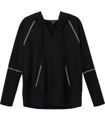 women's karen kane contrast stitch french terry hoodie, size x-large - black