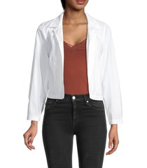 theory women's shrunken linen-blend jacket - white - size xs