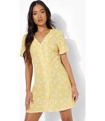 petite geweven loshangende bloemenpatroon jurk met knopen, yellow