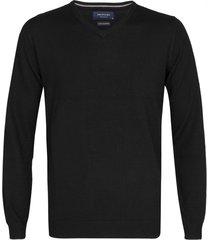 profuomo pullover zwart merinowol v-hals