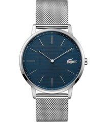 lacoste men's moon ultra slim stainless steel mesh bracelet watch 40mm