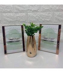 kit decorativo de dois porta retrato e vaso rose gold - ros㪠- feminino - dafiti