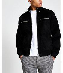 river island mens black suedette long sleeve racer jacket