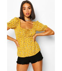 ditsy floral sweetheart neckline top, mustard