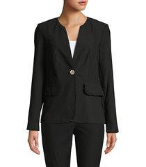 split neck button-front jacket