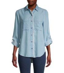 beach lunch lounge women's harlow denim shirt - medium wash - size xs