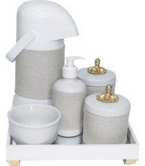 kit higiene espelho completo porcelanas, garrafa e capa provençal dourado quarto bebê unissex