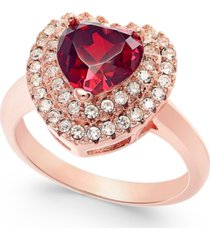 charter club 18k rose gold plate crystal heart halo ring, created for macy's