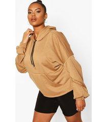 plus seam detail hoodie, camel
