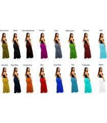 women's solid color maxi full length mermaid shape skirts folder over waist band