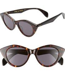 rag & bone 49mm cat eye sunglasses in dark havana/grey blue at nordstrom