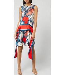 victoria, victoria beckham women's map print scarf dress - red/multi - uk 12