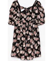 womens summer days floral mini dress - black