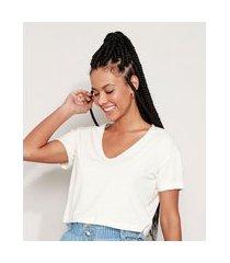 camiseta feminina básica cropped manga curta decote v branca