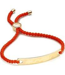 havana friendship bracelet- poppy red, gold vermeil on silver