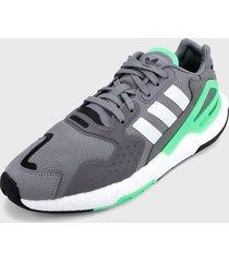 tenis lifestyle gris-verde-blanco adidas originals day jogger