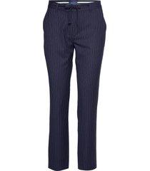 o1. pin stripe pants pantalon met rechte pijpen blauw gant