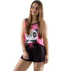 baby doll 4 estações pijama verão feminino panda curto regata adulto rosa - kanui