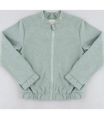 jaqueta infantil bomber com zíper verde claro
