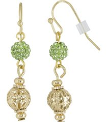 2028 gold-tone green fireball and filigree drop earrings